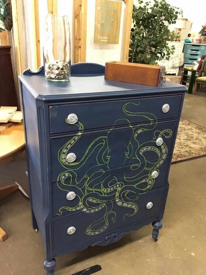 Octopus Dressers By Revamped Vintage In Janesville! Look At This Detail.  Boys Dresser, Nautical, Dresser Redou0027s, Dresser Ideas