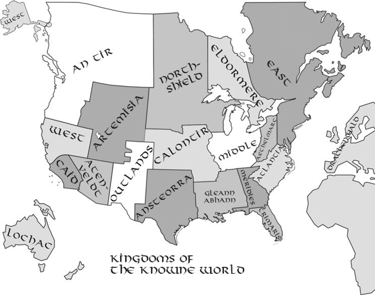 Map Of The Known World Sca With Links To All The Kingdoms Sca