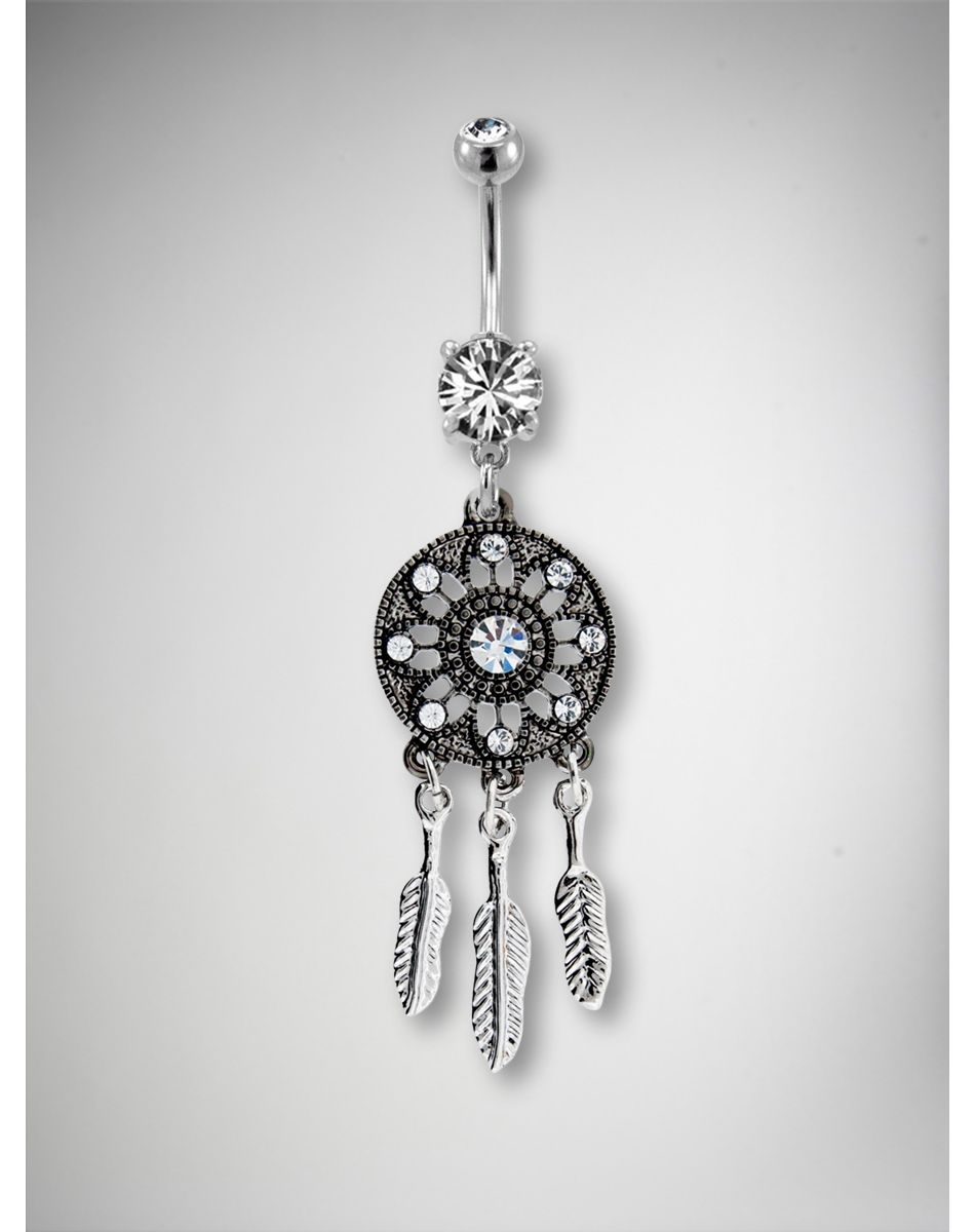 Fake belly piercing  Gem Dream Catcher Belly Button Ring  Colliers ras du cou
