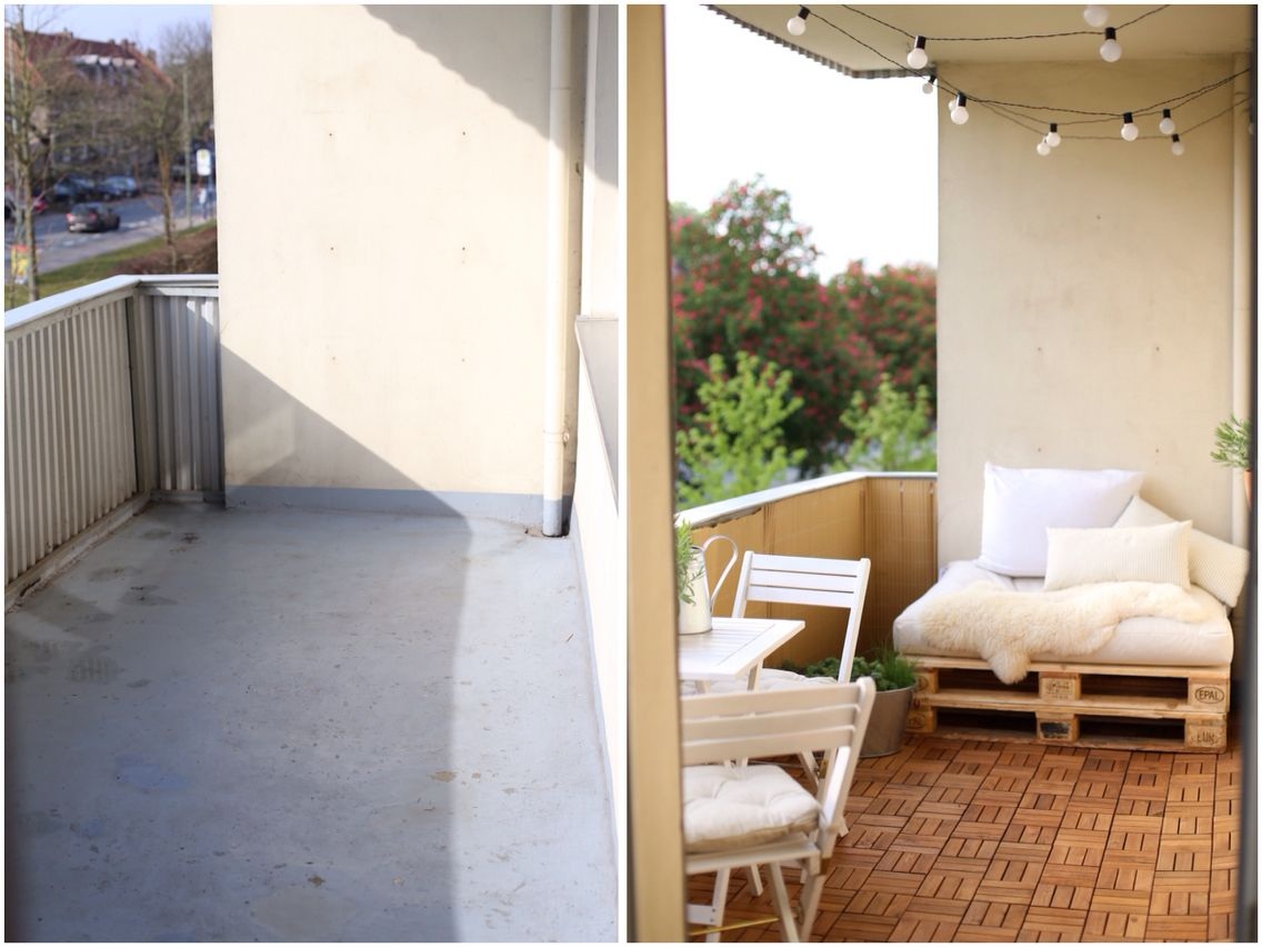Before and after balcony ikea summer days lights for Apartment balcony ideas