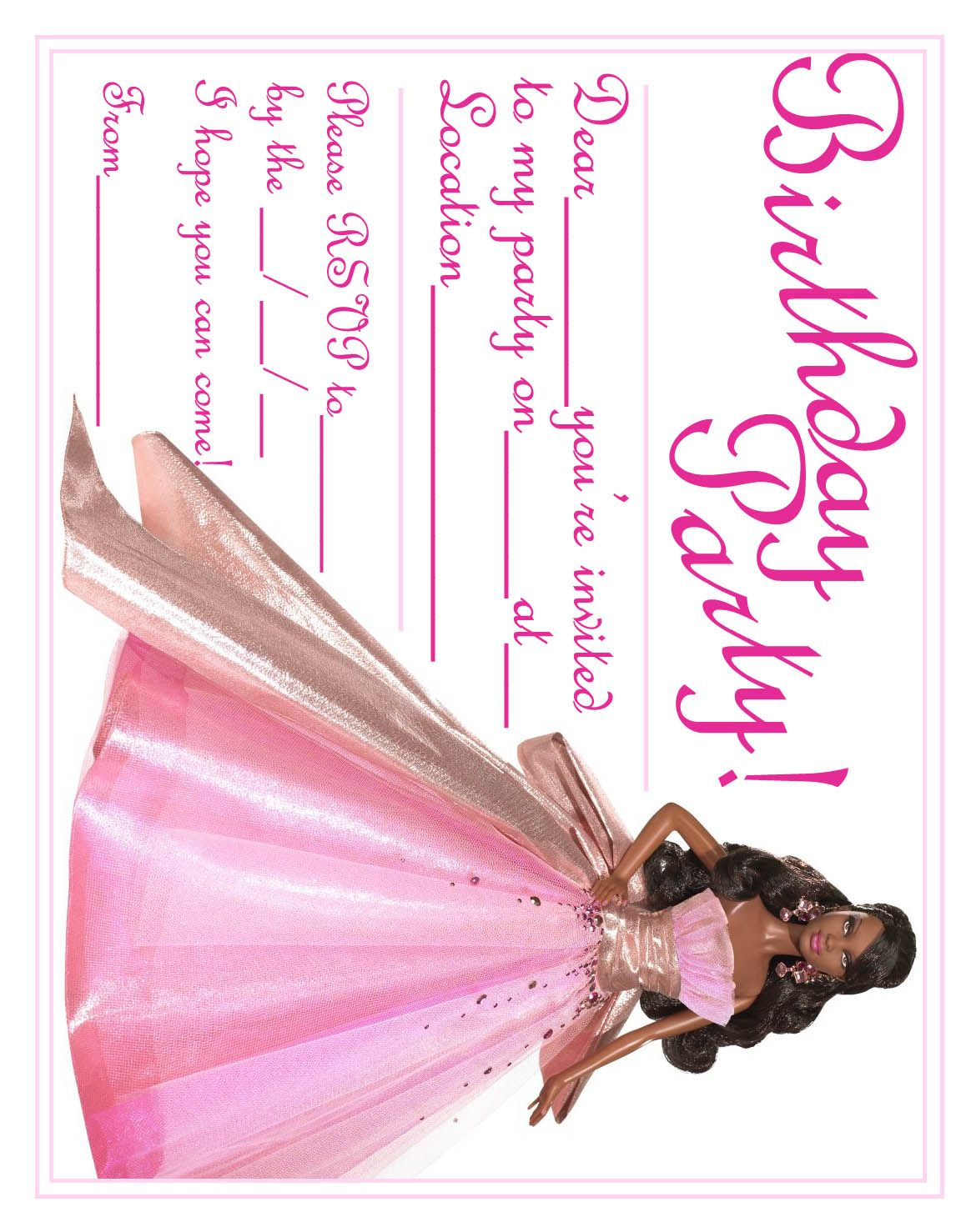 black african american barbie birthday card invite jpg 1170 1478