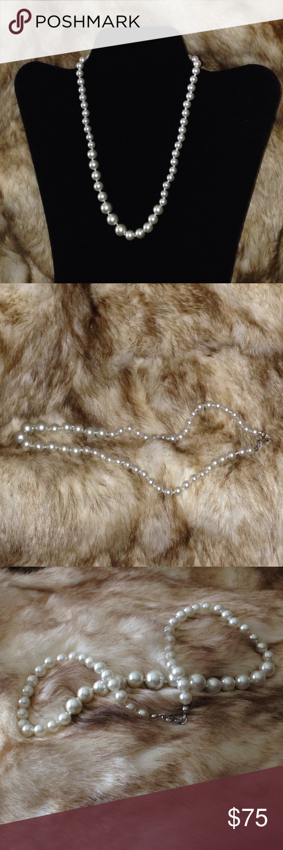 "🔥925 Pearl Necklace🔥 Every woman loves pearls. 😍😍 Pearl necklace 925. Silver clasps. 15"" Jewelry Necklaces"