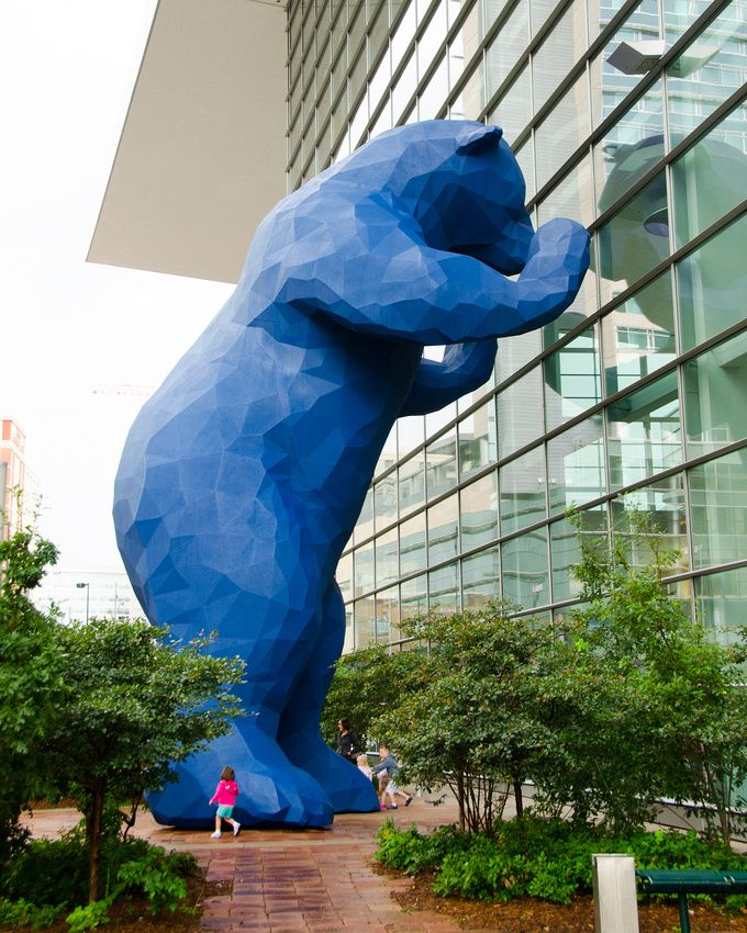 I see what you mean big blue bear sculpture at the for Craft show denver convention center