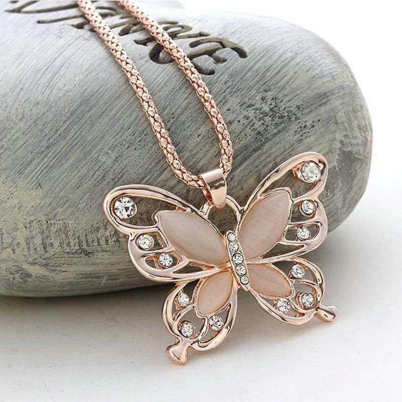 Rose Gold Crystal Long Butterfly Pendant Necklace Butterfly