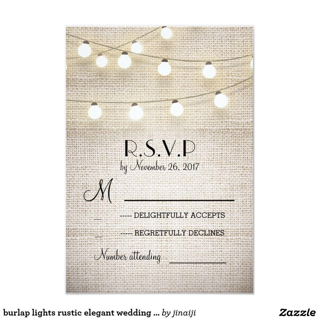 burlap lights rustic elegant wedding RSVP cards | Vintage Wedding ...