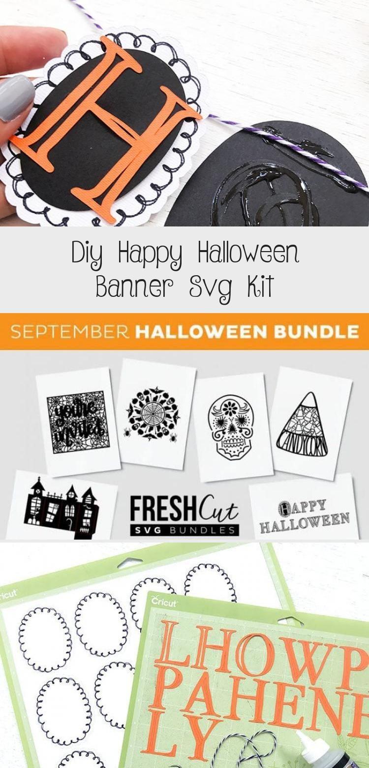 DIY Happy Halloween Banner SVG Kit - 100 Directions #bannerForBulletJournal #Eventbanner #RollUpbanner #bannerLetters #bannerJapan #happyhalloweenschriftzug