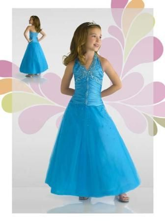 cobalt blue little girls halter pageant dress | flower girl ...
