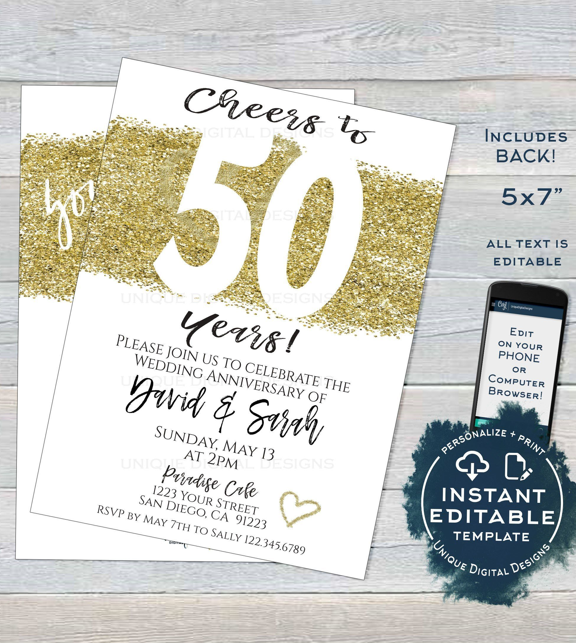 50 Year Anniversary Invitation Fiftieth Golden Wedding Anniversary 50th Surprise Party Invite Custom Printable In 2020 50th Wedding Anniversary Invitations 50th Anniversary Invitations Anniversary Invitations