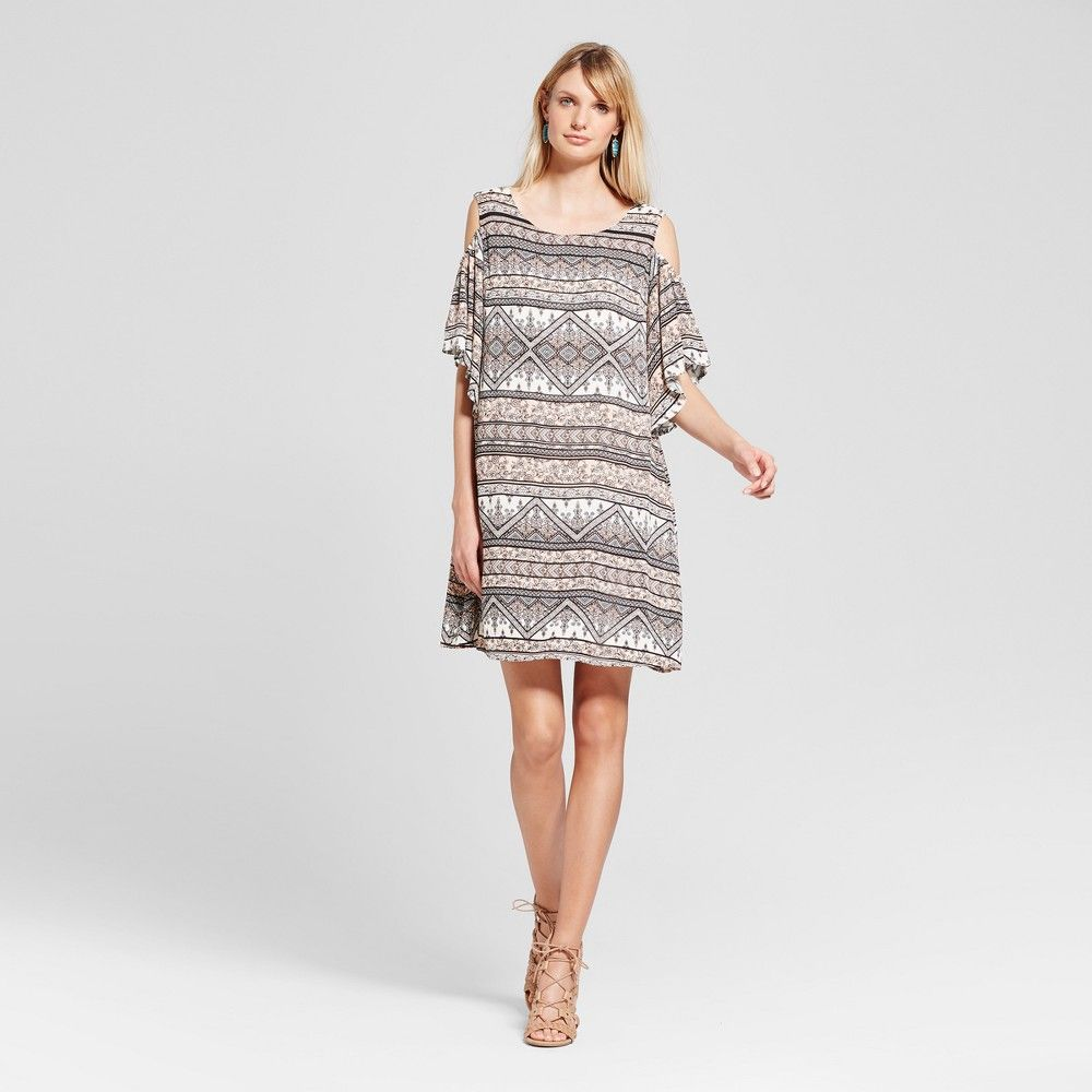 Womenus mix printed coldshoulder dress lux ii beigepink