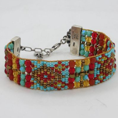 Chili Rose Czech Beaded Bracelet With Sterling Silver Red
