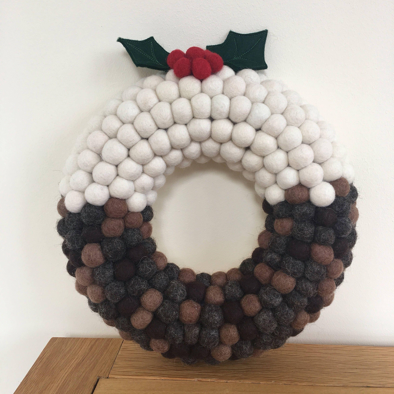 Christmas Wreath, Festive Wreath, Christmas Pudding Wreath, Felt Ball Wreath, Pom Pom Wreath ...