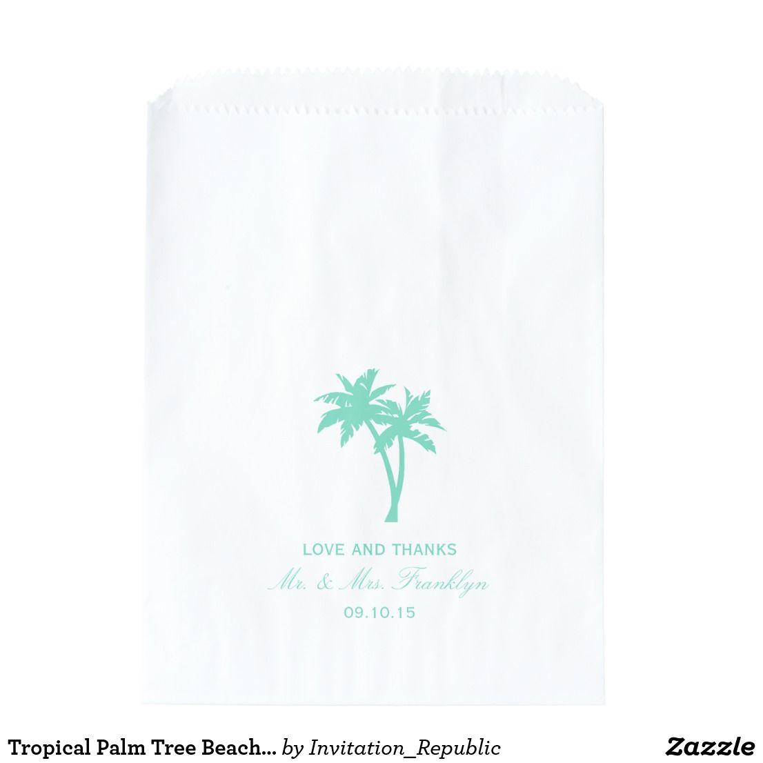 Tropical Palm Tree Beach Wedding Favor Bag | Palm trees beach ...