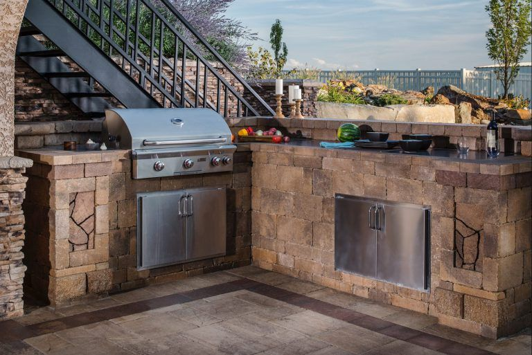 This L Shaped Kitchen Unit Is Part Of The Bristol Series Of The Belgard Elements Collection And Is Outdoor Stone Fireplaces Built In Outdoor Grill Grill Design