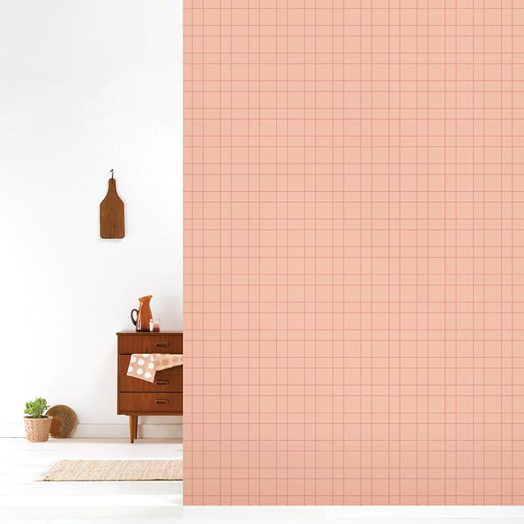 Roomblush behang wallpaper grid copperblush behangpapier woonkamer ...