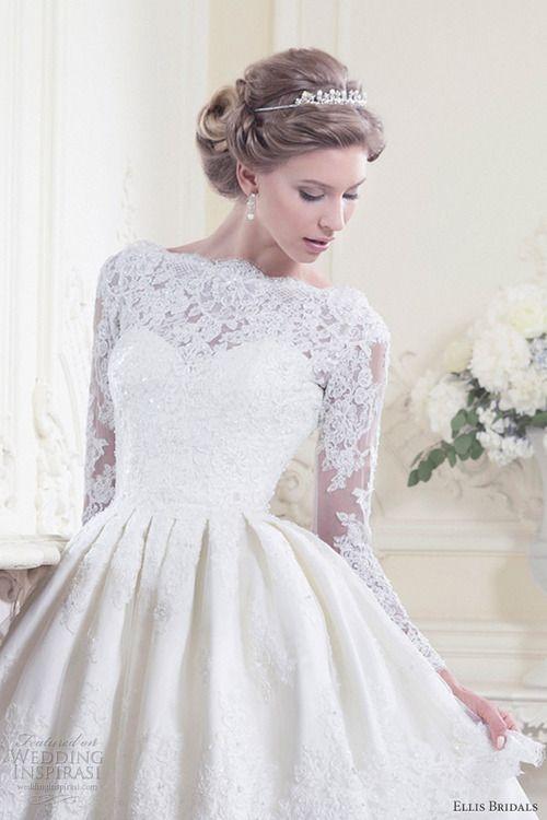 New Design Custom Size Longshort Vintage Lace Long Sleeve Wedding