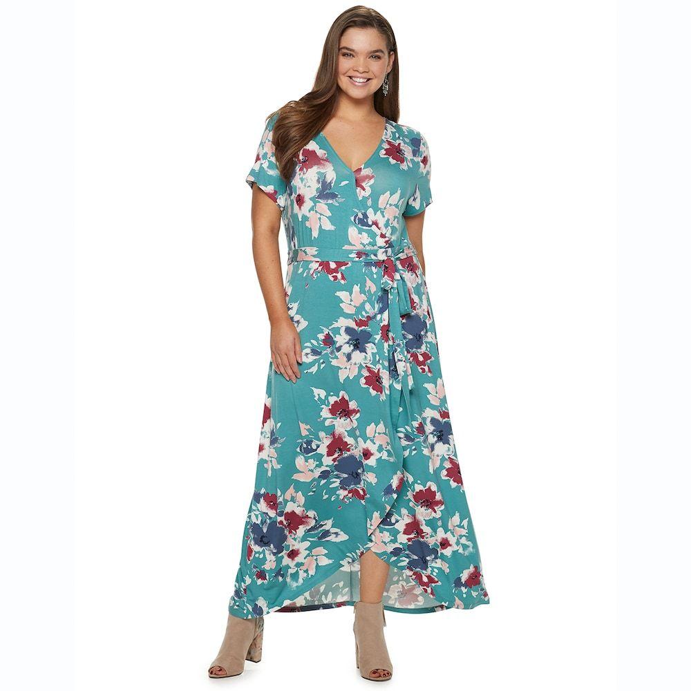 Juniors\' Plus Size SO® Faux Wrap Maxi Dress | Maxi wrap ...
