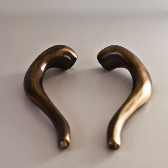 Brass Door Handles 2 Solid Brass Italian Pull by CozyTraditions ...