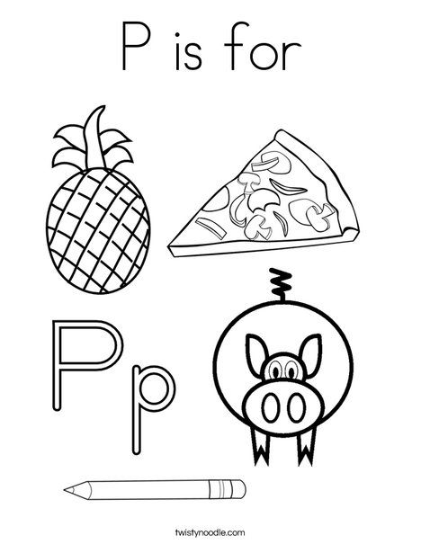p is for    coloring page from twistynoodle com