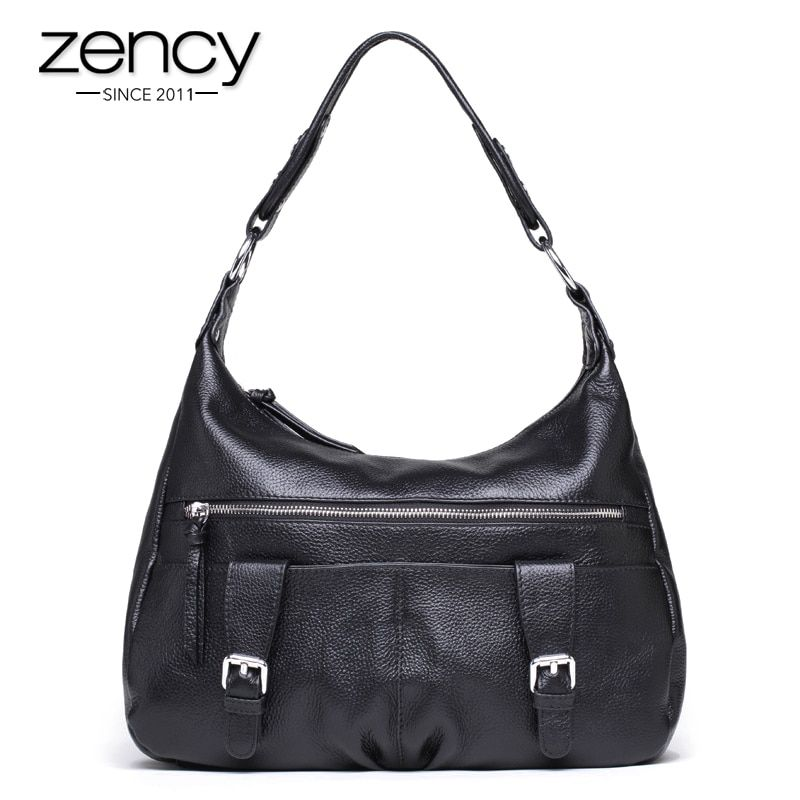 f61adfeefc4 Zency Black Satchel Women Shoulder Bag 100% Genuine Leather Hobos Tote Handbag  Fashion Lady Crossbody