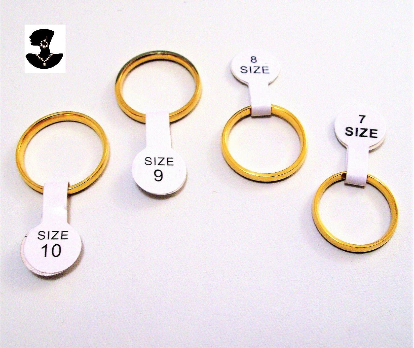 18K Yellow Gold Plated Sizes 7 8 9 10 Unisex Wedding Band