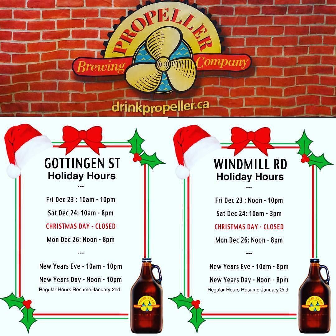 From Propellerbeer Halifax Dartmouth Propeller S Cold Beer Store Holiday Hours Nscraftbeer Novascotia Holidayhours Beer Chr Christmas Beer Beer Store Holiday Hours