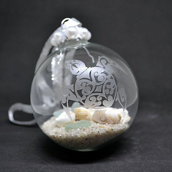 Sea Turtle Ornament, Etched Glass Ornaments, Coastal Christmas