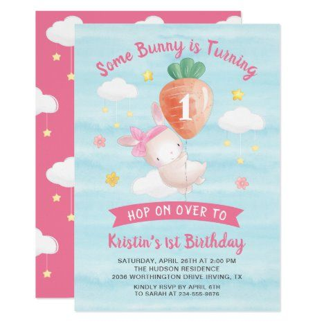 Cute Pink Some Bunny with Carrot Birthday Invitation #UniqueGifts #BirthdayGiftsUnique #PersonalizeGifts #ShopCustomizables