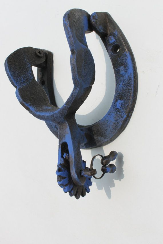 Cast Iron Horseshoe And Spur Door Knocker Blue By Readinginrags Door Furniture