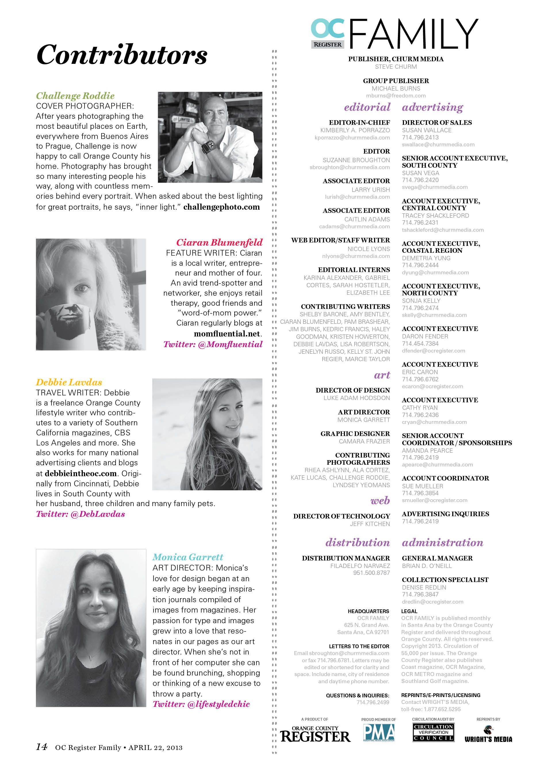 Contributor's page for OC Family magazine #