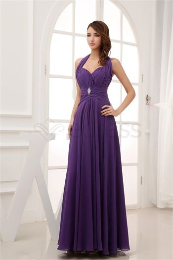 Beautiful Satin Chiffon Sleeveless Floor-Length Halter Pageant Dresses