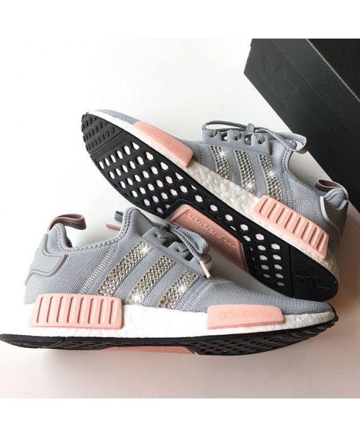 e767af9105b8 Womens Adidas NMD R1 Swarovski Cool Grey Vapor Pink Shoes Work is very  fine