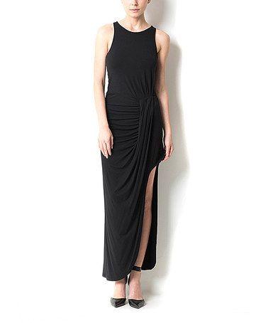 Look what I found on #zulily! Black Asymmetrical-Hem Maxi Dress by CQ #zulilyfinds
