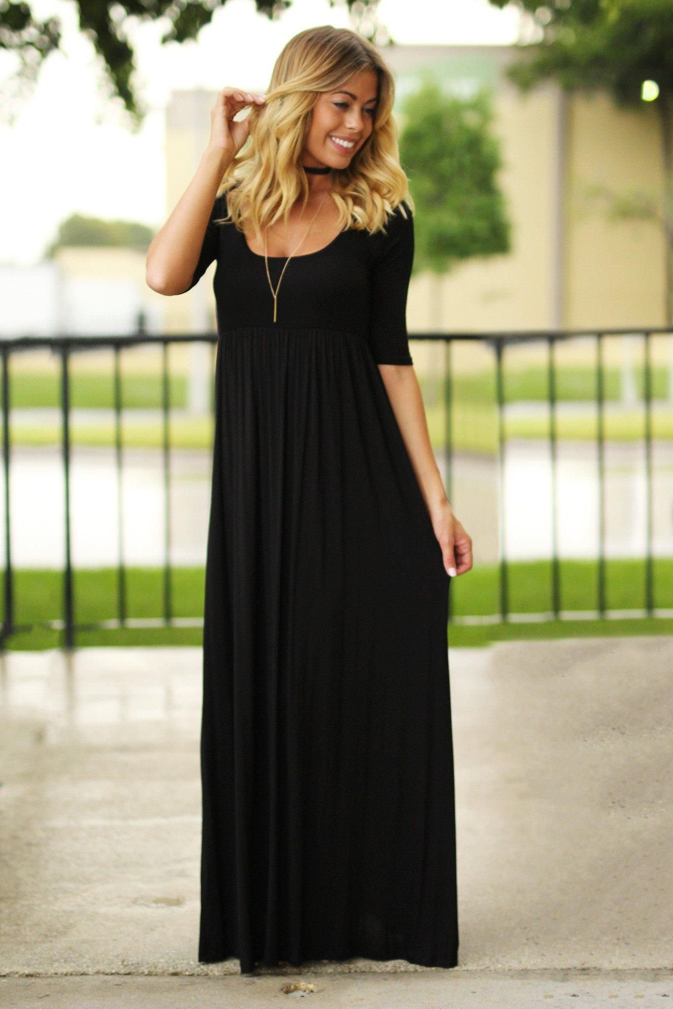 Black Casual Maxi Dress With 3 4 Sleeves Maxi Dress Long Black Dress Maxi Dresses Casual [ 2047 x 1365 Pixel ]