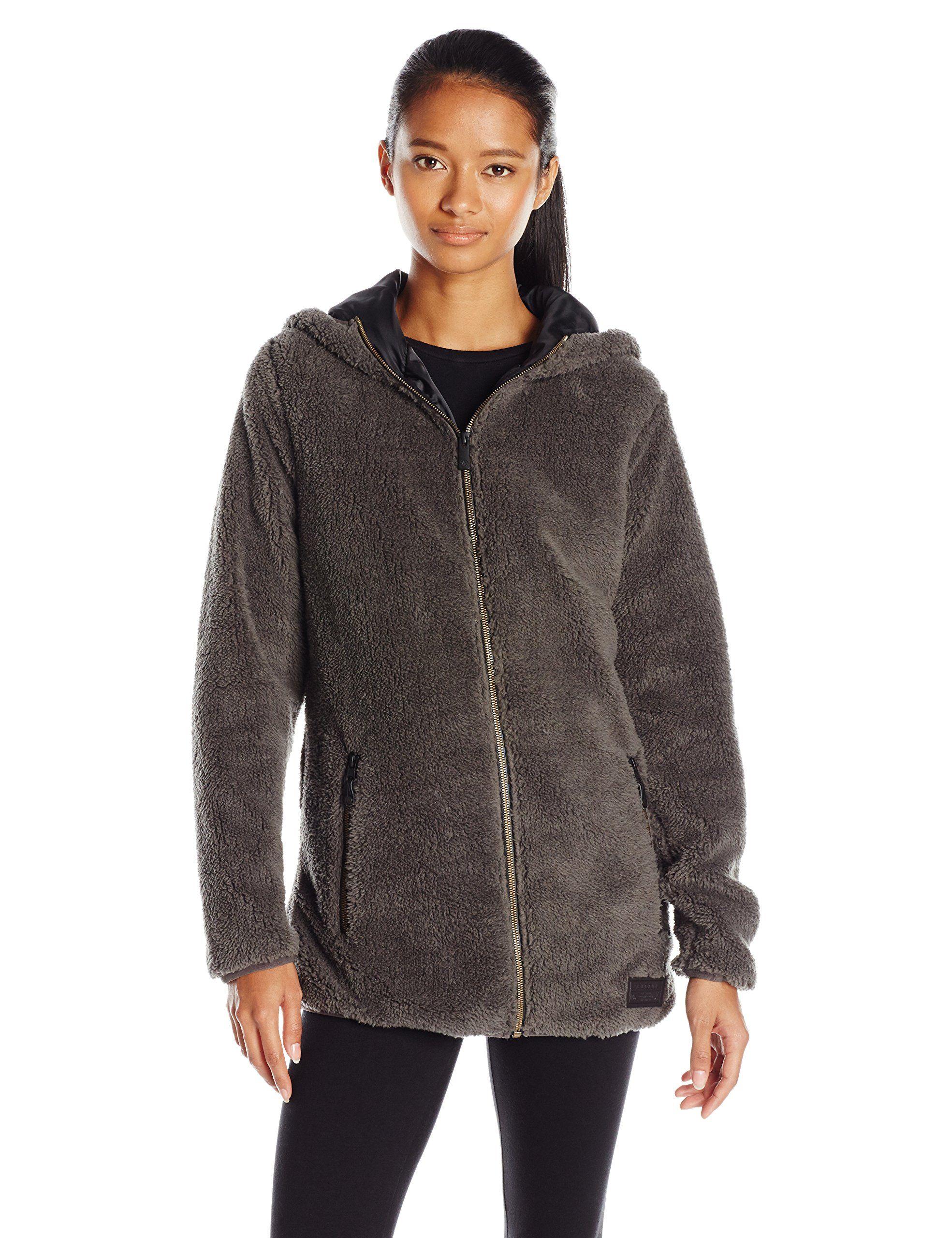 Volcom womenus butter sherpa snow jacket vintage black xsmall