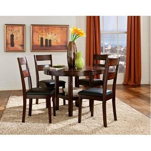 5 Piece Dining Set In Dark Merlot Cherry