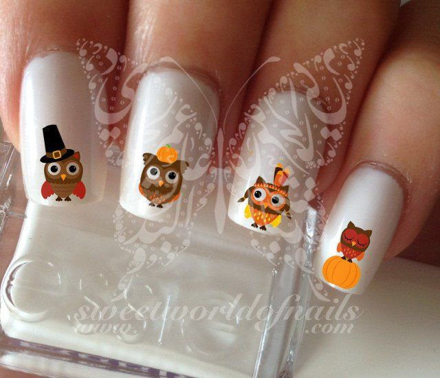 Thanksgiving Owls Nail Art Fall Water Decals Transfers ...