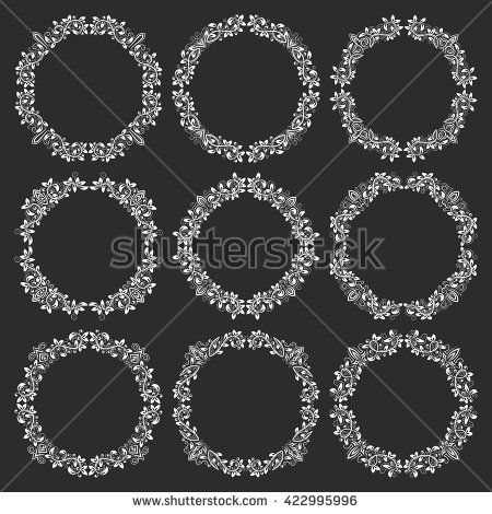 Victorian Design Elements set of floral #round #frames in victorian #vintage style. circular