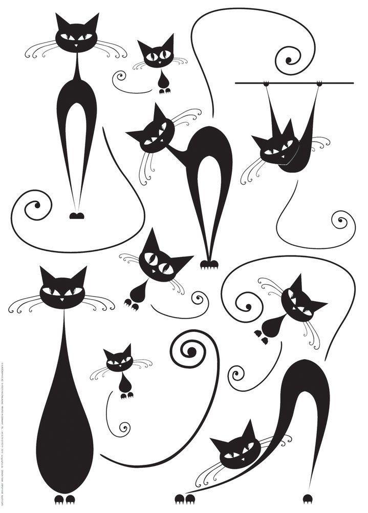amazon - platin art wall decal deco sticker, black cats - wall