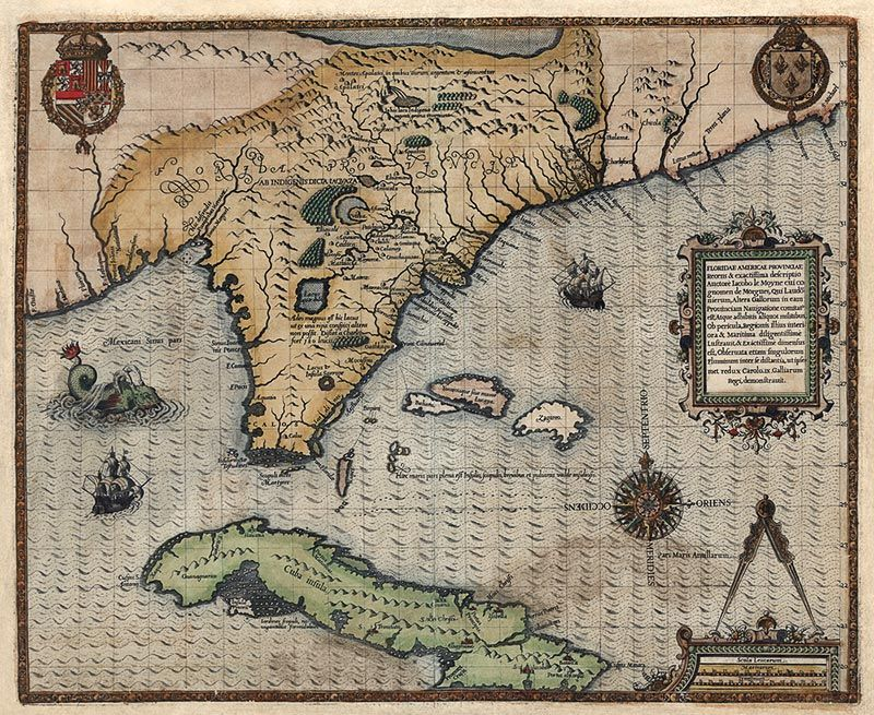 Antique map of Florida Cuba and the Southeast US from 1591 It