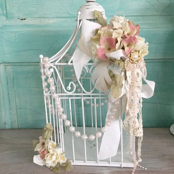 White Bird Cage Decorated Wire Metal Shabby Cottage Chic Bird Cage