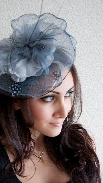 KATE Blue Gray Couture English Hat Fascinator Headband for weddings ... 854f0a28cb69