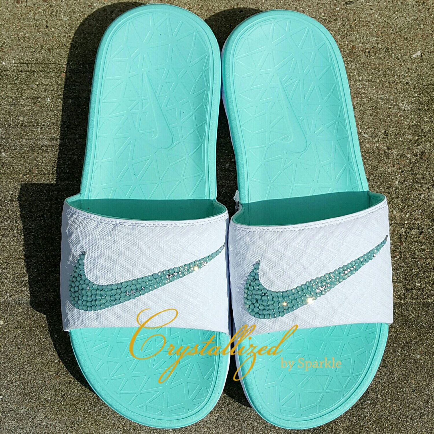 Items similar to Nike Benassi Women's Solarsoft Slide Bling Sandals Adorned  with Swarovski® Crystals on Etsy