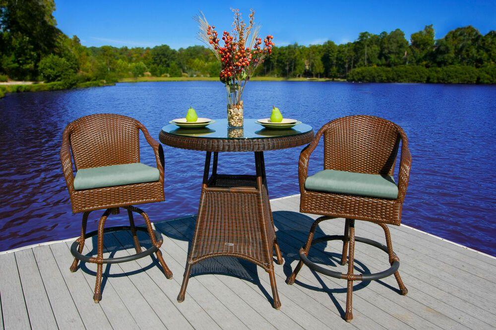 Sea Pines 3 Piece Outdoor Bar Set Java Wicker Patio Furniture Spearmint Fabric Tortugaoutdoor Bar Height Patio Set Bistro Table Outdoor Patio Furniture Sets