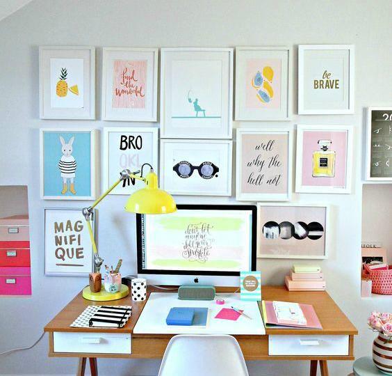 Ideas para decorar paredes con marcos y cuadros de colores - cuadros para decorar