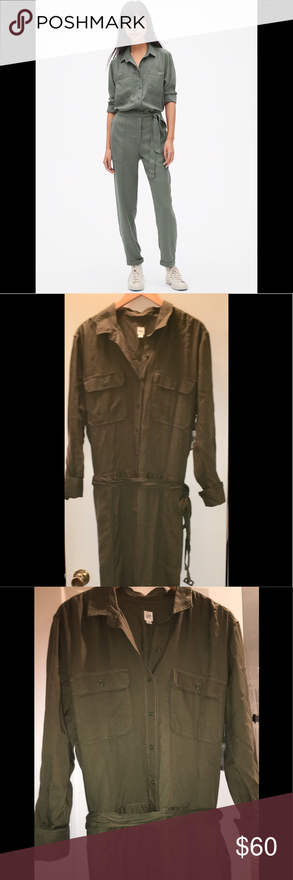 5cca5d2f8d0 GAP- JUMPSUIT  ROMPER- OLIVE   ARMY GREEN ♧️NWT NWT- Olive   Army green  jumpsuit   Romper brand new with tags ! •XXL •collar button down front •two  top ...