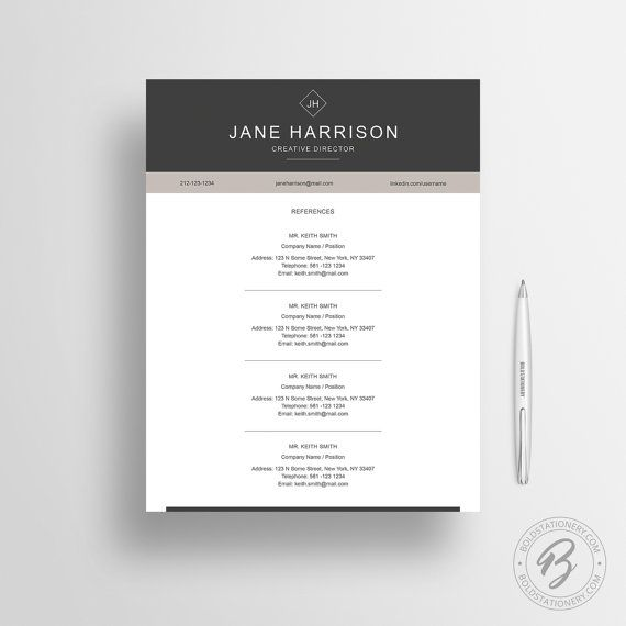 Resume Template  Instant Download Cover Letter Word  Jobs