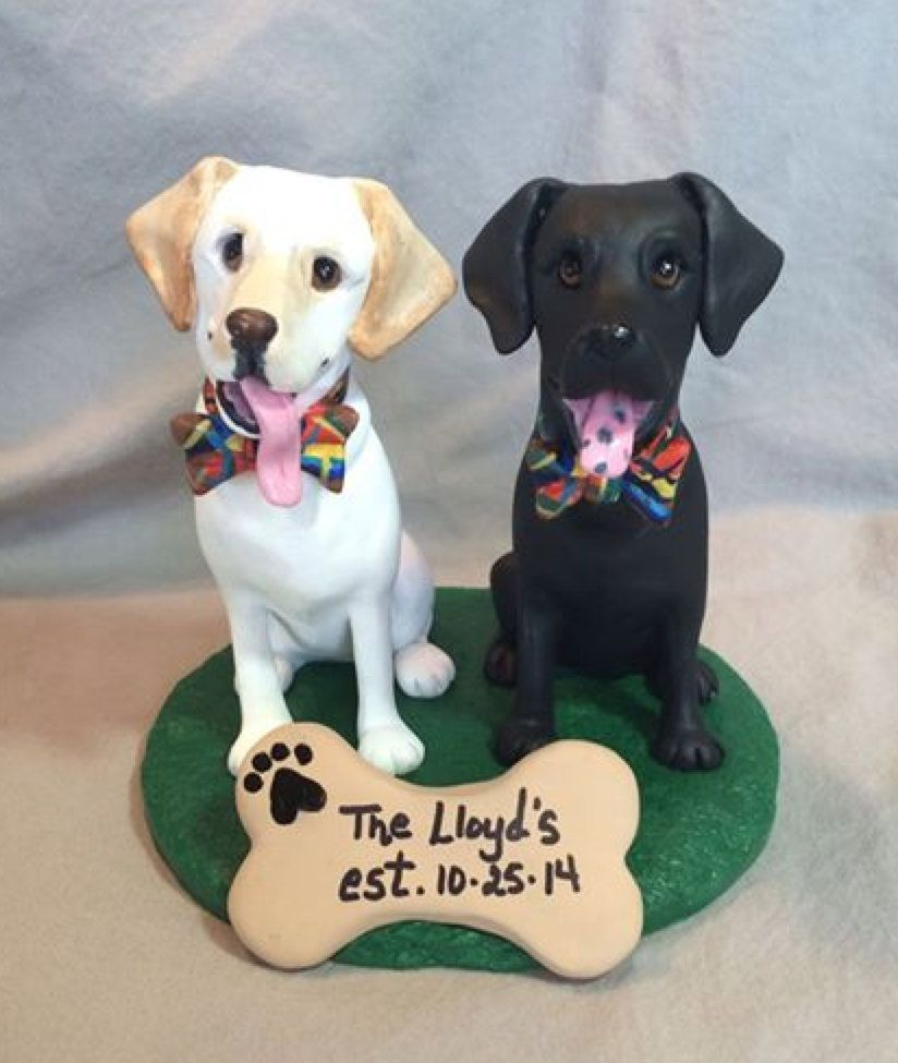 bridge over troubled water wedding cake custom sculpted black and yellow labrador retriever dogs 12144