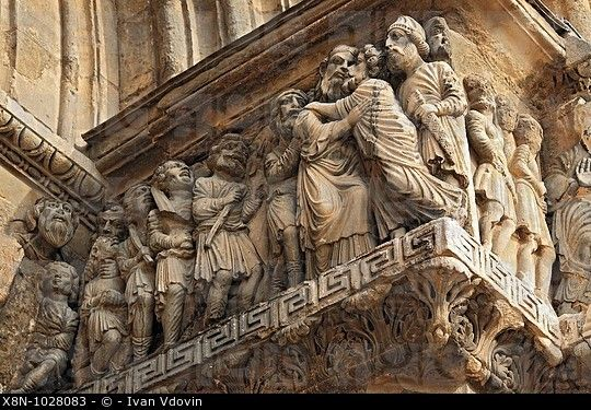 Bas-reliefs of portal of abbey church 12 cent , Saint-Gilles Saint-Gilles-du-Gard, Languedoc-Roussillon, France