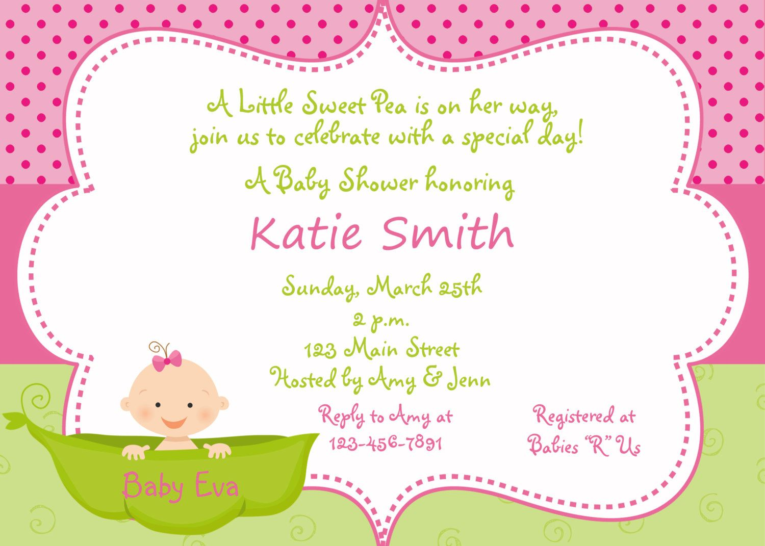 Twins Baby Shower   Pea In A Pod Baby Shower Invitation   Sweet Pea Pink  And Green Baby Girl Shower Invitation    You Print Or I Print