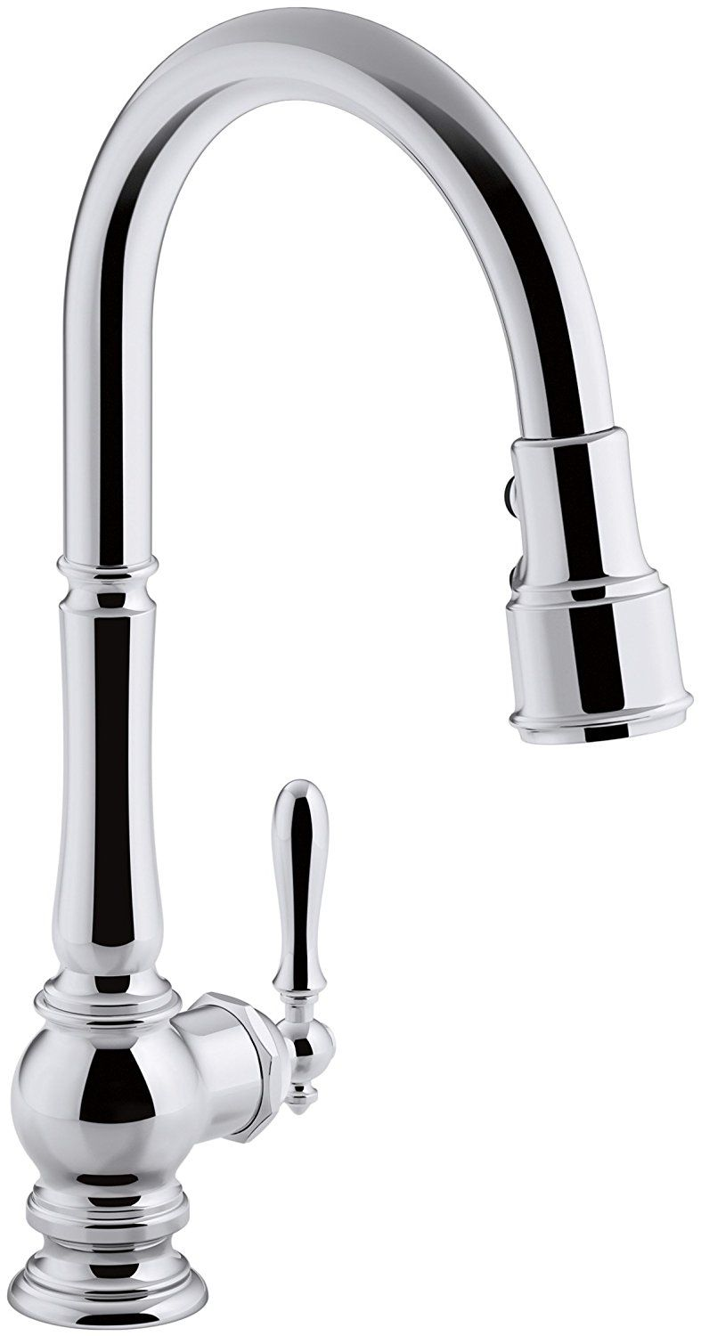 KOHLER K-99259-CP Artifacts Single-Hole Kitchen Sink Faucet with 17 ...